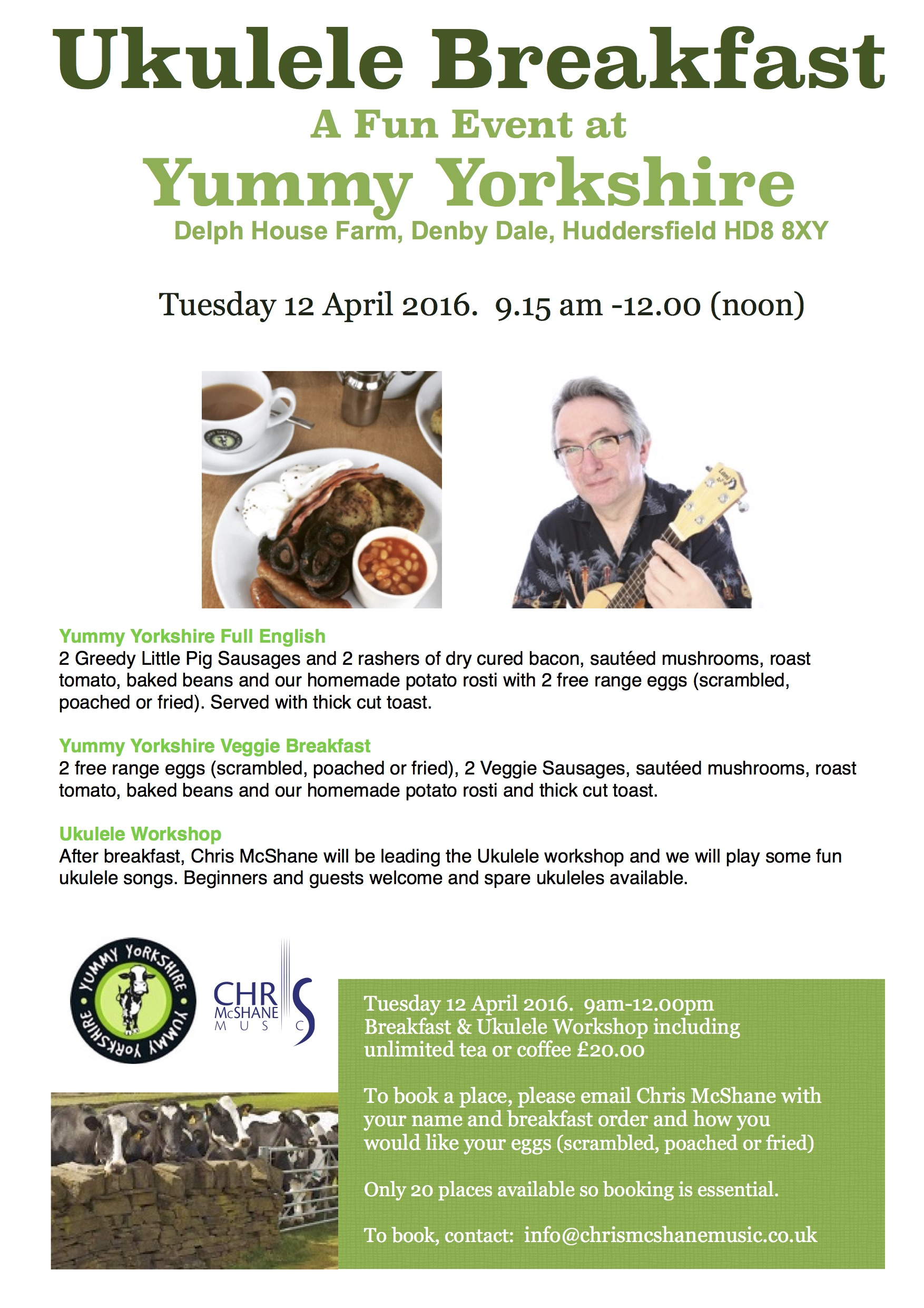 Ukulele Breakfast at Yummy Yorkshire. Tuesday 12 April