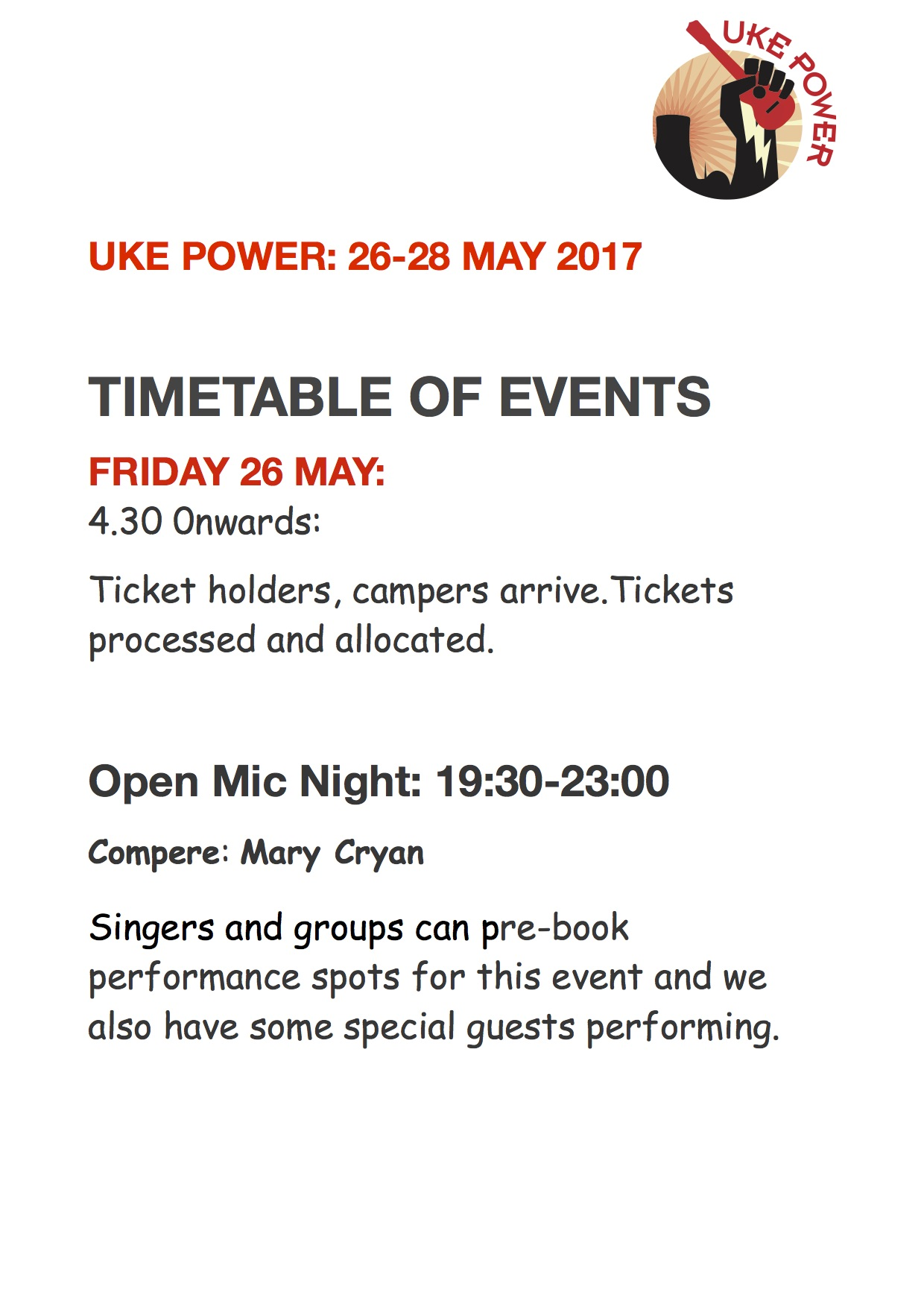 Uke Power 2017 Timetable of Events